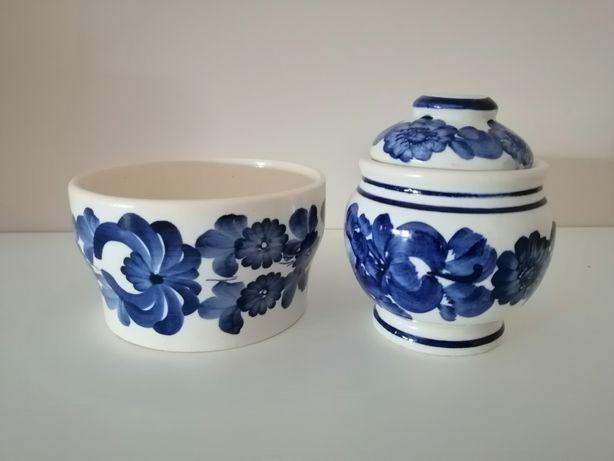Salaterka i cukiernica z pokrywką porcelana prl