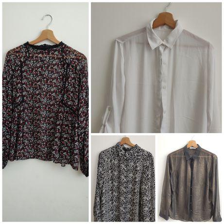 Zestaw 4 koszul Zara KappAhl Soon, eleganckie, modne, markowe, L 40 M