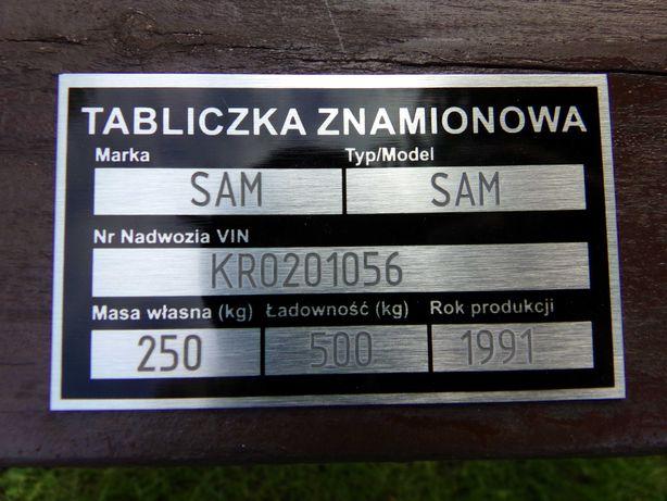 Przyczepa SAM DMC 750KG zarejestrowana OC