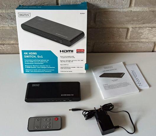 DIGITUS DS-45317 | 4K HDMI Switch 5x1 | HDCP | HDR | Pilot | Gwarancja