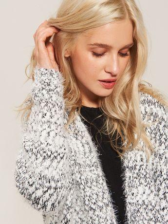 NOWA narzutka M L 38 40 futerko płaszcz kurtka sweter długi kardigan