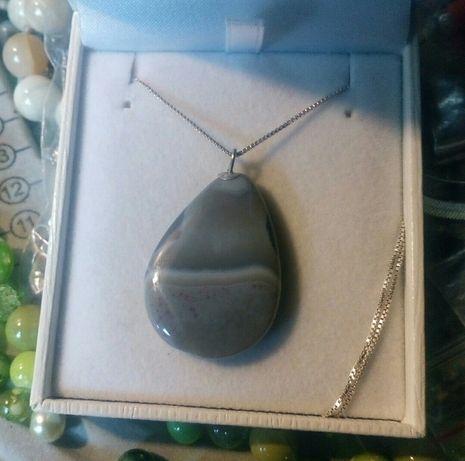 Naszyjnik srebro próby 925, Kamień naturalny