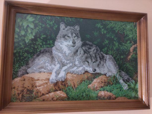Картина волки вышита бисером, ручная работа.