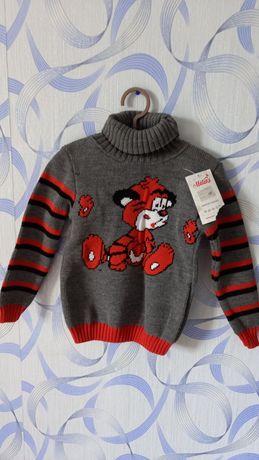 Новый свитер вязаный 110 см