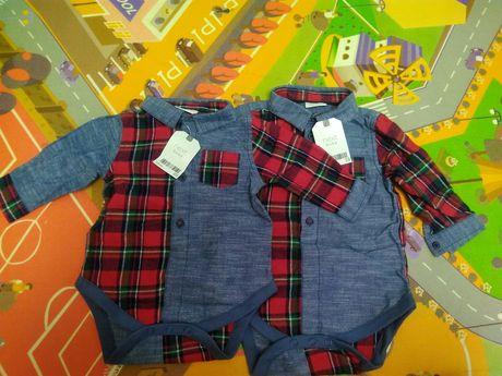Новорічні боді Next для хлопчика, сорочка, костюм