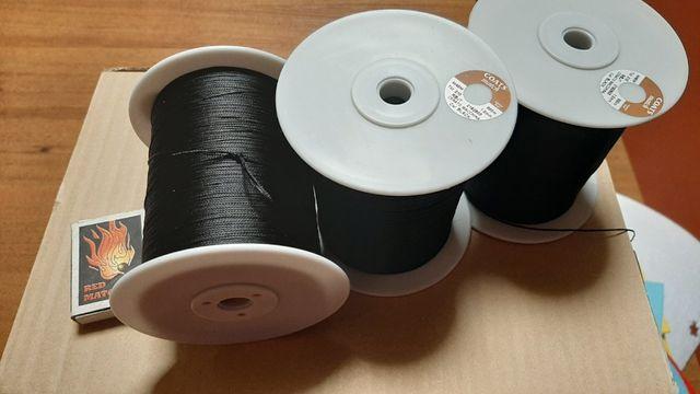 Нить Coats черная № 20. Плетеная нить Brio 0.8mm .Вощеная нить.
