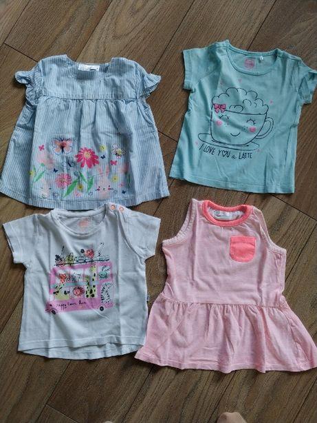 Zestaw ubranek dla dziewczynki koszulki rozmiar 74
