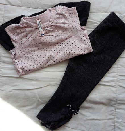Mini Paka, Bluzka 2x, getry 2x, sukienka różowa szara, zestaw 80 / 86