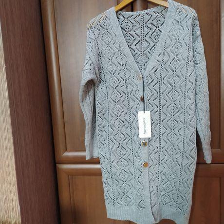 Żakardowy długi swetr