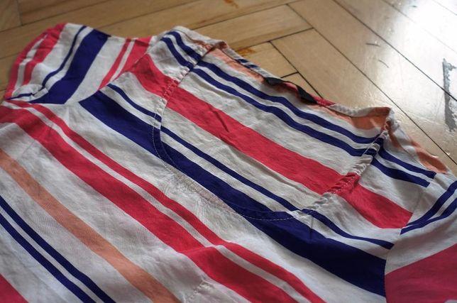 6. T-shirt, bluzka, koszula, koszulka F&F rozm. M w paski granat róż