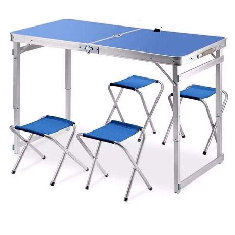 УДОБНЫЙ Стол для пикника + 4 стула И ЗОНТ. Усиленный столик устойчивый