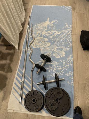 Conjunto de Discos e Barras Musculação