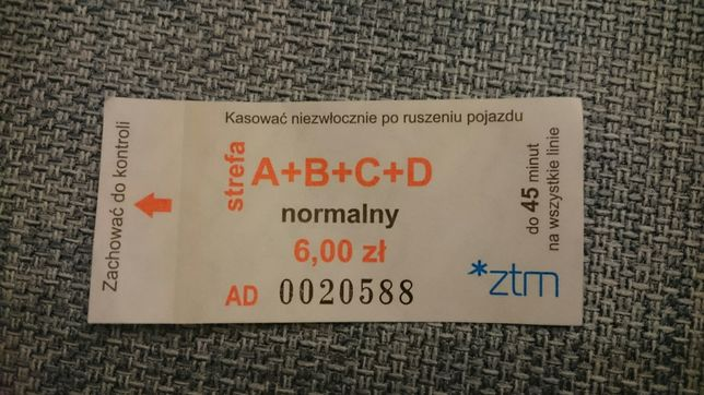Bilet 45 minut 6,00 zl A+B+C+D ZTM Poznań