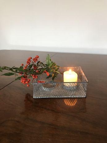 Świecznik metalowy, postarzany, na 2 świeczki, tealighty