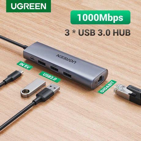 UGREEN CM266 (60812) USB 3.0 Хаб + гігабітний LAN адаптер