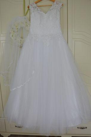 Suknia ślubna rozm. 40/42 z brokatowym tiulem i koronkowym gorsetem