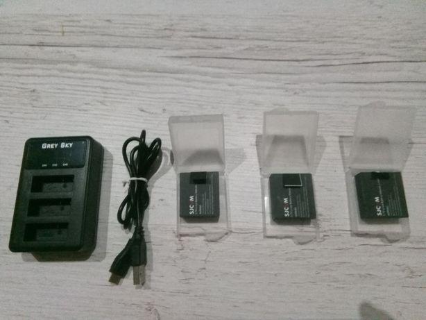 Baterie do kamery SJCAM 3szt. + ładowark LCD