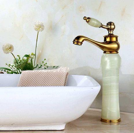 Смеситель зеленый кран золотой цвет ретро для ванной нефрит античный