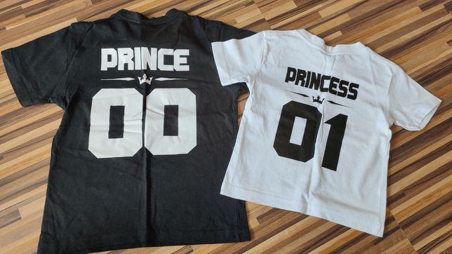 Zestaw koszulek PRINCE i PRINCESS 01 00 biała i czarna