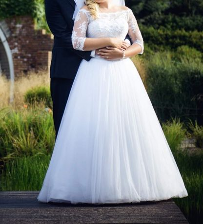 Suknia ślubna princessa 36-38 wiazany gorset (brak bolerka ze zdjec)