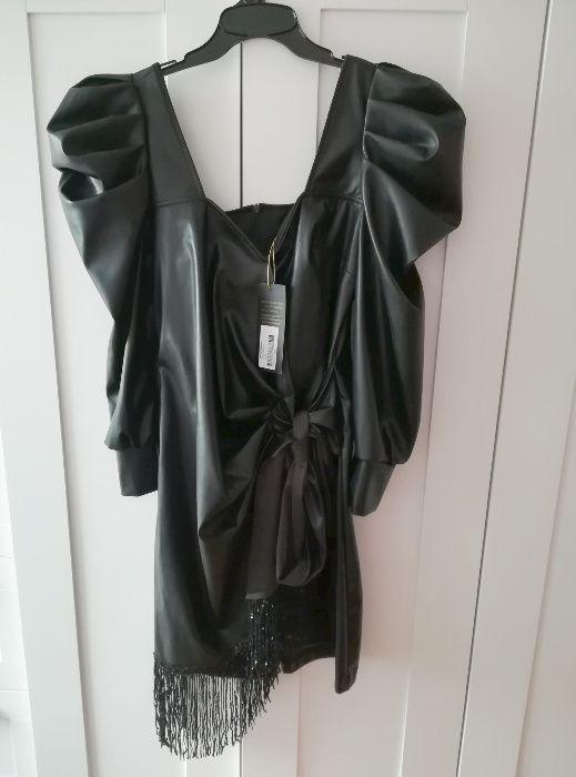 Skórzana sukienka skóra czarna cekiny cekinowa bufki L nowa z metką Aleksandrów Łódzki - image 1