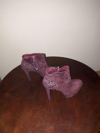 Nowe damskie botki fioletowe rozmiar 39
