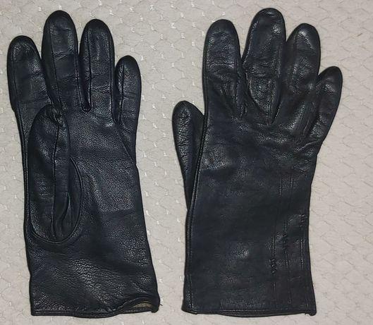 Czarne rękawiczki z prawdziwej skóry