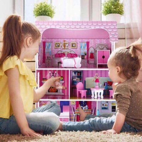 Домик для кукол, деревянный домик для кукол с мебелью,3 этажа + кухня