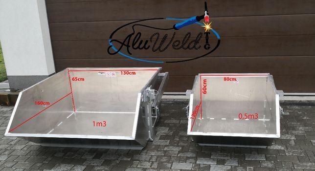 Niecka 0,5m3 1m3 F VAT Kosz pojemnik aluminiowy samowyładowczy na gruz