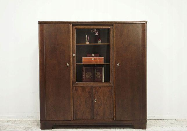 Antyczna biblioteka z lat 30-tych. z półkami drewno antyk art-deco