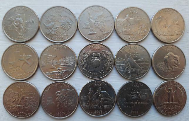 Монеты 25 центов США штаты