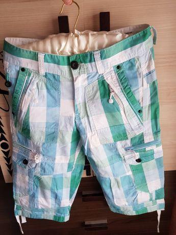 Męskie Spodenki Jeans w Kratkę OKAZJA