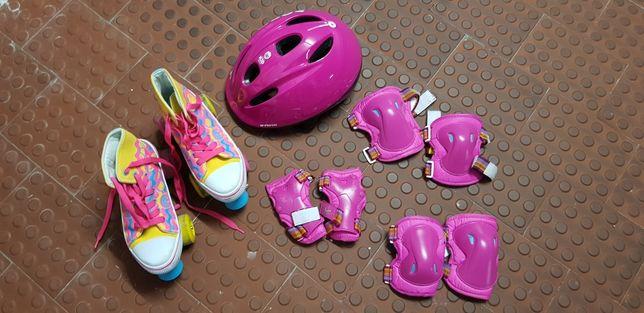 Patins Soy Luna 34-35 c/ capacete e proteções