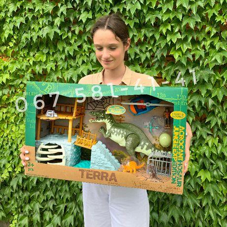 Огромный набор с динозавром, свет звук, Terra by Battat Jungle Expedi