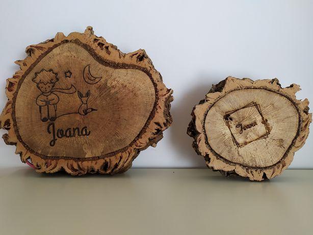 Rodelas bolachas bases de madeira