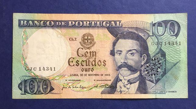 CAPICUA nota 100 escudos 1965 - Camilo Castelo Branco