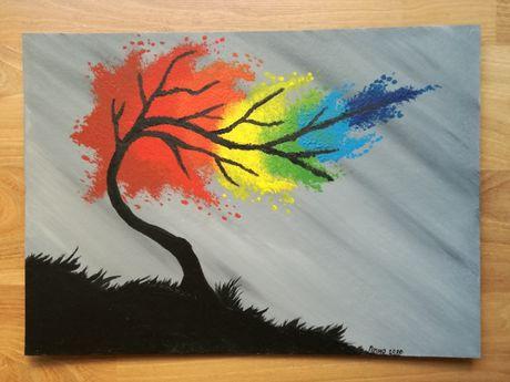 """Obraz """"Tęczowe drzewo"""""""