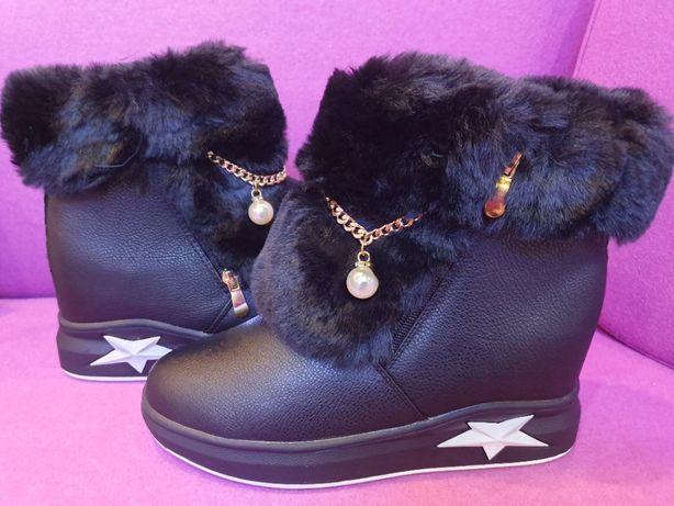 Botki kozaki sneakersy NOWE czarne lis jenot perła cyrkonie 40 koturny
