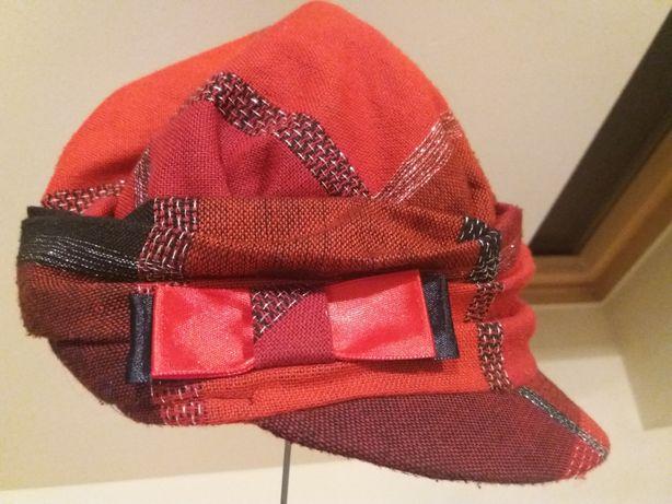 Czapka/kapelusz+długi szal kolor krwista czerwień