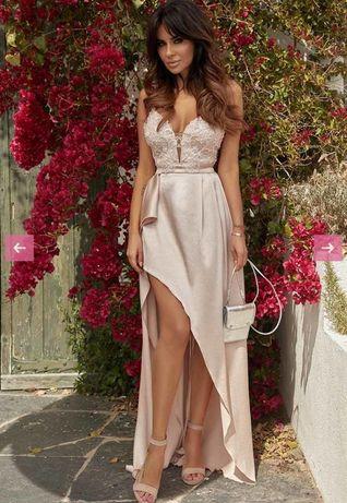 Różowa długa suknia z koronka -Lou