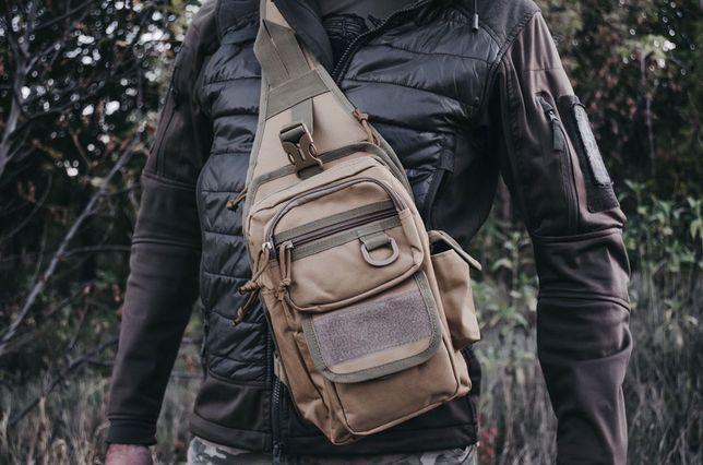 Сумка-кобура однолямочный рюкзак тактическая койот