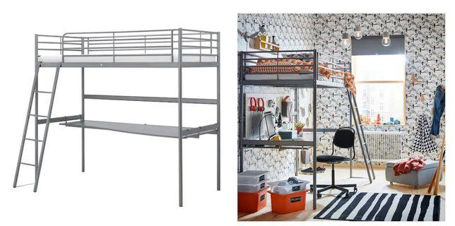 IKEA SVARTA łóżko na antresoli + blat + materac (super stan)