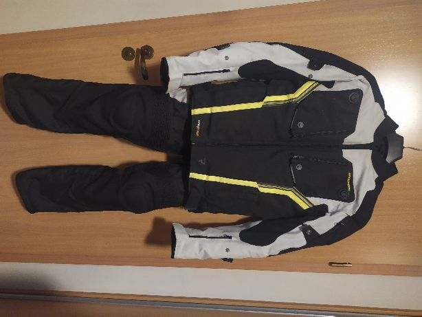 Rebelhorn Borg kurtka i spodnie szaro-czarne fluo L - komplet