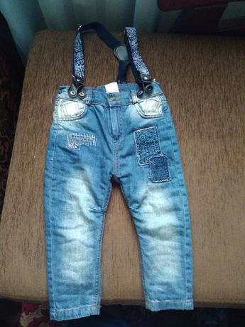 Детские тёплые джинсы с подтяжками