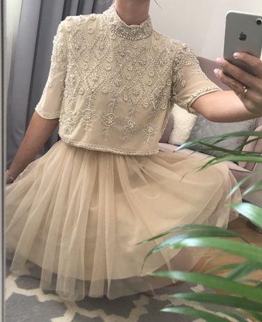 Sukienka Asos zdobiona koraliki tiul bezowa