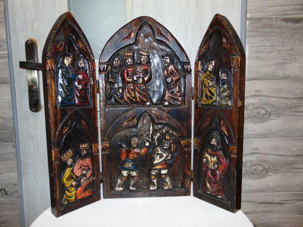 Drewniany tryptyk w stylu art deco,vintage