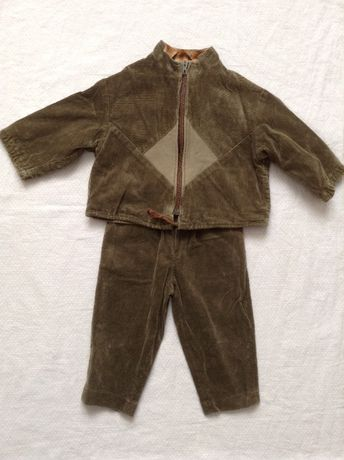 Костюм вельветовый демисезонный, размер 86 (брюки, курточка)