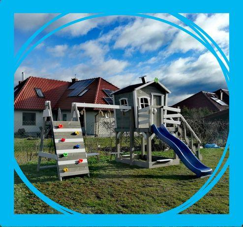 """Fantastyczny duży """"krzywy"""" domek XL dla dzieci, plac zabaw, huśtawka"""