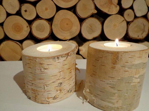 Świecznik drewnian brzoza Najtaniej, plaster drewna, panel ścienny