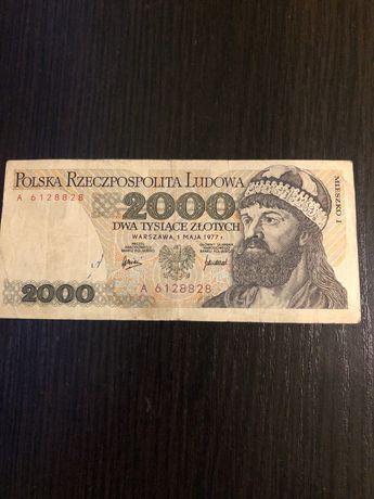 Банкнота 2000 злотых 1977г А 6128828